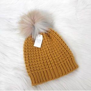 {Time & Tru} NWT Mustard Yellow Knit Pom Hat